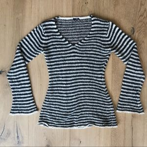 Wooden Ships Striped V-Neck Sweater - XS/S
